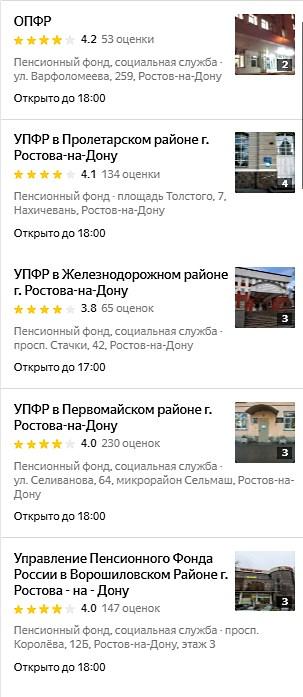 Адреса отделений Пенсионного Фонда РФ в Ростове-на-Дону список1