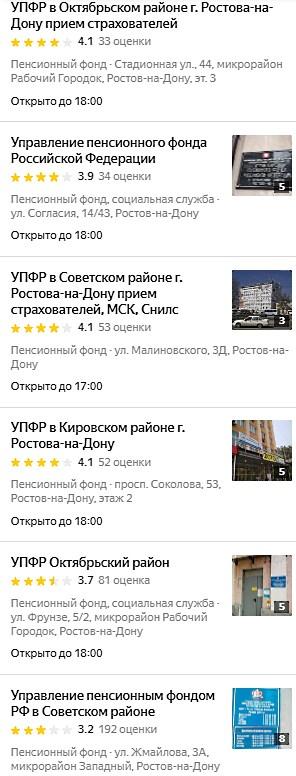 Адреса отделений Пенсионного Фонда РФ в Ростове-на-Дону список2