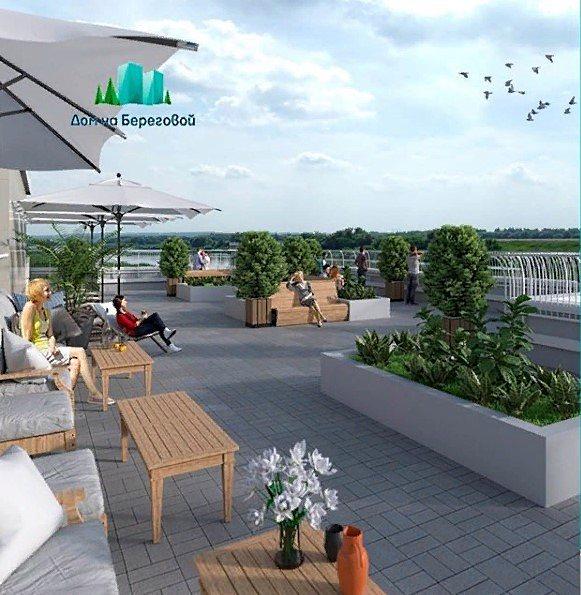 """Крыша дома в жк """"дом на Береговой"""", оборудованная для отдыха жителей"""